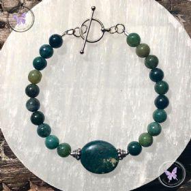 Moss Agate Bead Bracelet